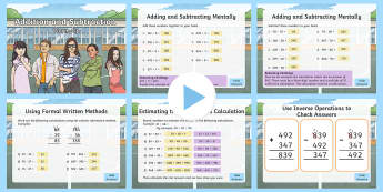 Year 3 Addition and Subtraction Maths Warm-Up PowerPoint - KS2 Maths warm up powerpoints, addition and subtraction, Year 3 addition and subtraction, add and su