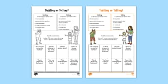 Tattling or Telling Worksheet / Activity Sheet - Social Skills, tattle, tell, activity, important, help, worksheet