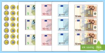 Images à découper : Les billets en euros - monnaie, devise, Europe, France, cycle 2, cycle 3