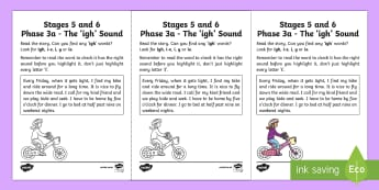 Northern Ireland Linguistic Phonics Stage 5 and 6 Phase 3a, 'igh' Sound Activity Sheet