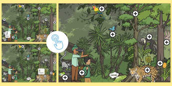 Jungle Phase 2 Phonics Picture Hotspots - Jungle, Rainforest, animals, phonic, initial sounds, initial letters, Twinkl Go, twinkl go, TwinklGo, twinklgo