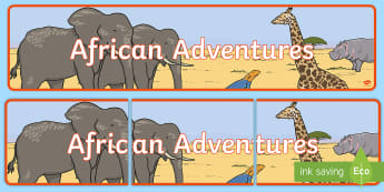 African Adventures Display Banner - Tinga Tinga Art Display Banner - african, african animals, safari, safari animals, tinga tinga art,