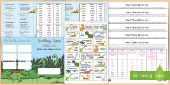 Year 2 Dinosaur Spelling Menu Pack - spag, gps, home learning, weekly, lists, test,