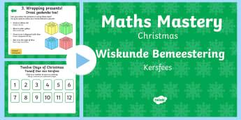 Christmas Maths Mastery PowerPoint English/Afrikaans - December, celebrate, Santa Clause, elves, reindeer, Desember, EAL
