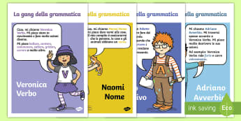 La gang della Grammatica Personaggi Poster - la, gang, della, grammatica, grammaticiale, nomi, aggetivi, avverbi, verbi, italiano italian, materi