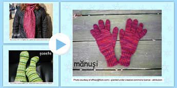 Îmbrăcăminte de iarnă - Prezentare PowerPoint - îmbrăcăminte, haine, planșe, fotografii, iarna, prezentare, power point, imagini, materiale, materiale didactice, română, romana, material, material didactic