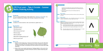 CfE First Level - Take It Outside - Summer Maths Ordering Activity - Woodland, Mathematics, Numeracy, sorting, Sticks, estimate, measure, compare,Scottish