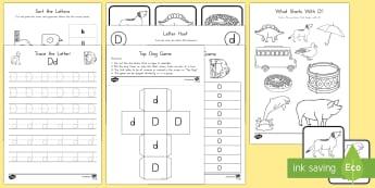 Letter D Activity Pack - Alphabet Packets, EYFS, KS1, Letter D, Letter Formation, Letter Identification, Beginning Sounds, La