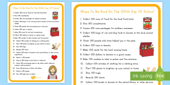 Ways to Be Kind on the 100th Day of School Checklist - 100th Day of School, kindness, 100 days of school, kindness, relationships