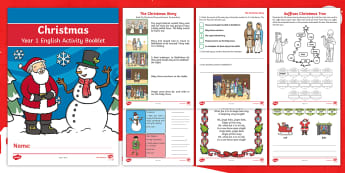 Year 1 Christmas English Activity Booklet - comprehension, spag, reading, writing, workbook