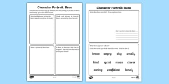 Character Profile Bean Activity to Support Teaching on Fantastic Mr Fox - mr fox, bean