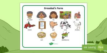Grandad's Farm Word Mat - Aistear, exploring my world, aistear, farm, cow, pig, chicken, egg, tractor, literacy, oral language