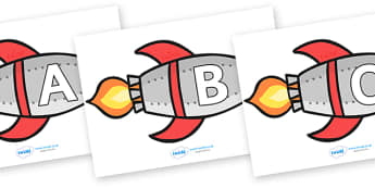 A-Z Alphabet on Rockets (uppercase) - Rocket, topic, space, Alphabet frieze, Display letters, Letter posters, A-Z letters, Alphabet flashcards, moon, stars, planet, planets