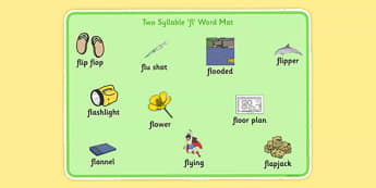 Two Syllable FL Word Mat - sen, sound, special educational needs, fl, word mat