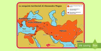 Le conquiste territoriali di Alessandro Magno Poster - storia, storico, antichi, studiare, italiano, italian, materiale, scolastico