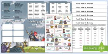 Year 5 Viking Themed Spelling Menu Pack -  spag, gps, home learning, weekly, lists, test, spelling patterns, spelling rules