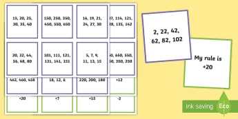 Number Pattern Rule Matching Cards - Australian Curriculum Number and Algebra, number, number pattern,number patterns, addition, subtract
