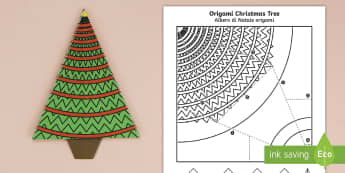 Simple Origami Christmas Tree Paper Craft English/Italian  - christmas party, paper craft, christmas hanger, paper craft, christmas, decoaration, EAL
