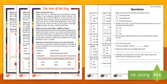 KS1 The Year of the Dog Differentiated Reading Comprehension Activity - Chinese New Year, Lunar New Year, Chinese Festival, Chinese New Year 2018, Chines New Year Informati