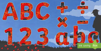 Remembrance Day Themed Display Lettering-remembrance day, themed, display, lettering, display lettering, history, ww1, letters for display