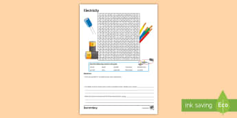 Electricity Word Search - thermistor, transformers, circuits, diode, resistance