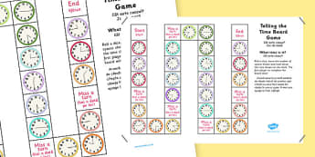 Telling The Time Board Game KS1 O'clock Half Past Quarter To and Past Romanian Translation - romanian, telling the time, board game, ks1, o'clock, half past, quarter to, quarter past