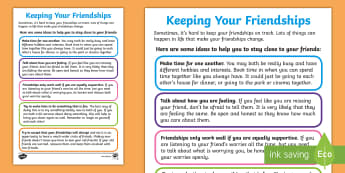 Keeping Your Friendships Guide - PSHCE, young people, transition, bullying, emotions