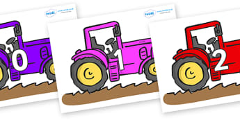 Numbers 0-50 on Tractors - 0-50, foundation stage numeracy, Number recognition, Number flashcards, counting, number frieze, Display numbers, number posters