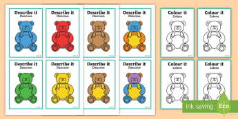 Describe It Colour It Teddy Game - English/Portuguese - describe it, colour, teddy, eal, portugese