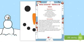 Bolsa sensorial: El muñeco de nieve Bolsa sensorial-Spanish - actividad sensorial, nieve, invierno, receta, bolsa,Spanish