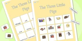 The Three Little Pigs Vocabulary Matching Mat - the three little pigs,  vocabulary poster, vocabulary, display poster, information poster, poster, display