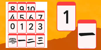 0-10 Numbers in Mandarin Chinese Matching Flashcards - flashcards