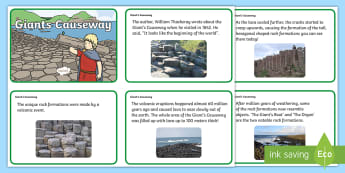 Giant's Causeway Fact Cards -  Northern Ireland, Rock, formations, Myths and Legends, finn mccool
