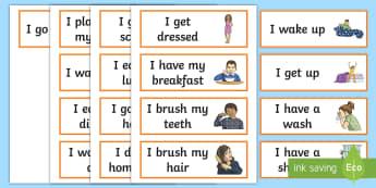 Cartes de vocabulaire : Ma routine quotidienne - Anglais LV - Langues Vivantes, Daily, Routine, Quotidien, Quotidienne, Cycle 3,French