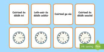 Cairtean Co-fhreagairt na h-Uarach - Cairtean Co-fhreagairt na h-Uarach, scotland, scottish, gaelic, cfe, time, telling the time , clocks