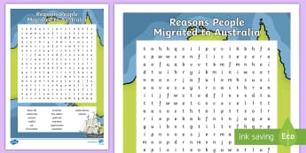 Reasons People Migrated to Australia Word Search - Australia, HASS, history, geography, migration, migrate, stories, colony, convicts, family histories