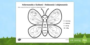 Kolorowanka z liczbami Dodawanie i odejmowanie do 10 - matematyka, motyl, owady, suma, różnica, motylek,Polish