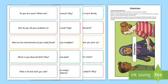 Chatterbox Manualidad - caja de conversación, conversation box, speaking, speaking practice, A2 English level, circle time