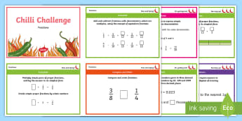 Chilli Challenge Year 6 Fractions Challenge Cards - decimals, percentages, equivalent, Simplify, Compare