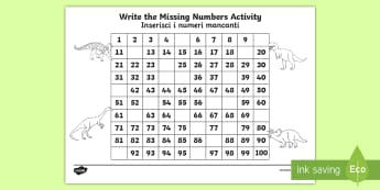 Dinosaur Themed Missing Numbers Number Square 1 100 English/Italian - Dinosaur Themed Missing Numbers Number Square 1-100 - dinosaur, dinosuar, numbes, dinsaur, dinosour,
