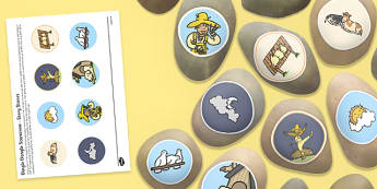 Dingle Dangle Scarecrow Story Stone Image Cut Outs - Story stones, stone art, painted rocks, Nursery Rhymes, farm