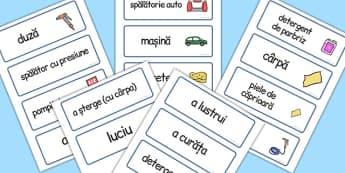 Spalatorie Auto, cartonase cu imagini si cuvinte, joc de rol, Romanian