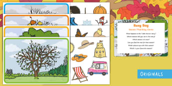 Seasons Matching Game Busy Bag Prompt Card and Resource Pack - Twinkl originals, fiction, matching, sorting, seasons, time, weather, table top activity, preschool