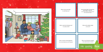 Christmas Morning Scene and Question Cards English/Romanian - Christmas Morning Scene and Question Cards - christmas morning, scene, questions, cards,chritmas, ch