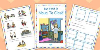 Bun venit în clasa noastră - Broșură - bun venit, broșură, prima zi de școală, clasa noastră, începerea școlii, materiale, materiale didactice, română, romana, material, material didactic