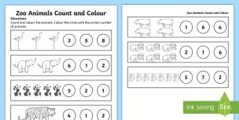 Zoo Animals Counting Worksheet / Activity Sheet - Early Childhood Animals, Animals, Pre-K Animals, K4 Animals, 4K Animals, worksheet, Preschool Animal