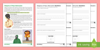 Weapons of Mass Destruction Differentiated Comprehension Challenge Sheet - War; Weapons of Mass Destruction; WMD; Nuclear Weapons; chemical weapons; biological weapons