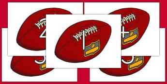 Numbers 1-30 on Footballs - usa, numbers, 1-30, football, american football, nfl, national football league