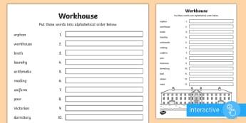 KS1 Workhouse Words Alphabet Ordering Go Respond™ Activity Sheet - KS1 Workhouses, Go Respond, year 1, year 2, alphabet ordering, order words alphabetically, word orde