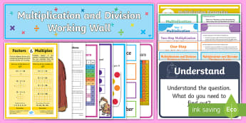 LKS2 Multiplication and Division Working Wall Display Pack - maths display, classroom display, compact, short multiplication, short division, commutativity, distributive